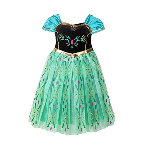 Canberries® Prinzessin Kostüm Kinder Glanz Kleid Mädchen Weihnachten Verkleidung Karneval Party Halloween Fest (120, #07 Kleid) (Elsa Grünes Kleid Kostüm)