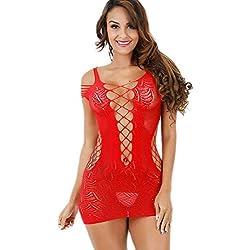 Acizi Lingerie Femme Résille Babydoll Mini Robe Body Bodystocking Taille Élastique pour Sexe (Rouge)