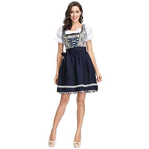 Deutschland Oktoberfest-Kleidung Weibliches Bier Mädchen Restaurant Arbeits Blumenkleid,Blue,L ()