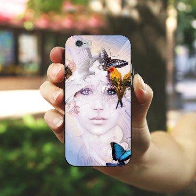 Apple iPhone 4 Housse Étui Silicone Coque Protection Oiseaux Femme Femme Housse en silicone noir / blanc