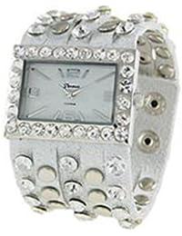 Funda inspirado Studded Multi Correa Botón de reloj, color blanco