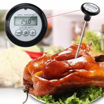 Keyi le Kitchen Tools & Gadgets Küchenthermometer, digitales Grill-Thermometer, Sonde, Lebensmittel, Fleisch, Küche, 200 mm, 1 x Digitales LCD-Thermometer, 120 mm