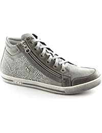 NERO GIARDINI 15111 grigio scarpe donna mid zip sportive sneaker brillantini 5964a4774b4