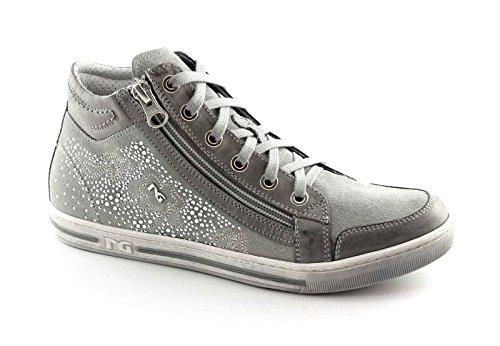 NERO GIARDINI 15111 grigio scarpe donna mid zip sportive sneaker brillantini Grigio