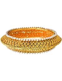 JFL - Traditional Ethnic One Gram Gold Plated Pearl Designer Bangle/Kada Set For Women & Girls.
