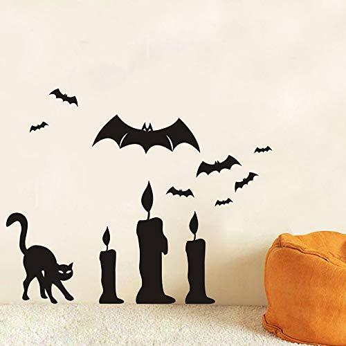 Halloween Dekoration Schwarze Katze Und Fledermaus Wandtattoos Abnehmbare Scary Wandaufkleber Kunstwanddekor Diy Pvc Fledermaus Tapeten