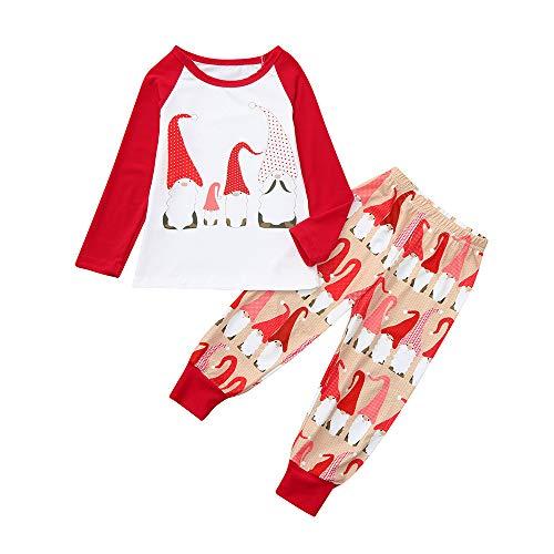 FRAUIT Familie Weihnachten Pyjamas Sets Mutter Vater Kind Baby Langarm Schlafanzug Nachtwäsche mit Weihnachts Print Sleepwear Xmas Santa Rundkrage T-Shirt Oberteile Top Lang Hose Set von
