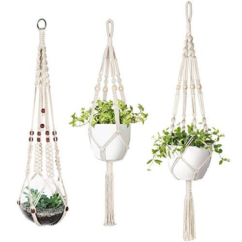 Mkouo Blumenampel Makramee Pflanzenhalter Set of 3 Indoor Wandbehang Pflanzer Korb Blumentopf Halter Boho Home Decor