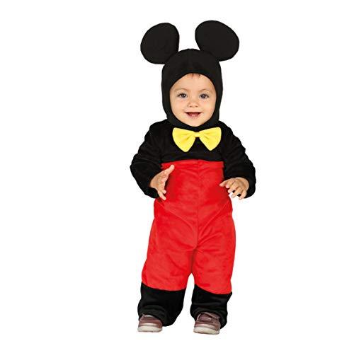 Guirca costume topolino neonato 12/24 mesi, colore rosso,nero e giallo, 1-2 anni 88376