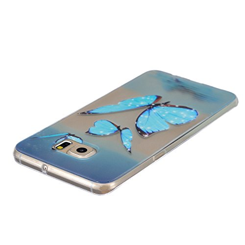 Galaxy S6 Edge Plus Case, Per Samsung Galaxy S6 Edge Plus Cover Silicone, Asnlove Custodia Crystal Case 3D Flessible TPU Silicone Lucida Trasparente Bumper Gomma Caso Stilosa Custodia di Design in Mor Color5