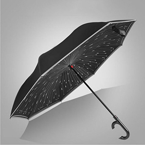 Liuyu · casa al Aire Libre Reverse Umbrella Bilayer Plegable automático Puede soportar Creative Long Handle Reflective Strip Diámetro 106 cm (Color : B)