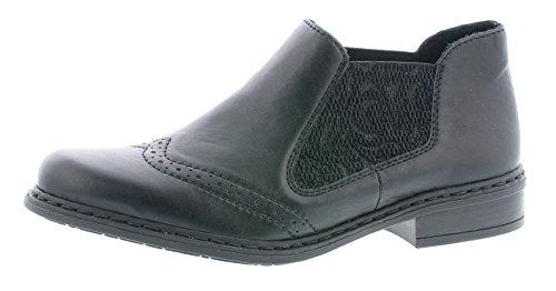 Rieker Damen Chelsea Boots 52090,Frauen Stiefel,Halbstiefel,Stiefelette,Bootie,Schlupfstiefel,flach,Blockabsatz 3cm,schwarz/schwarz / 00, EU 39