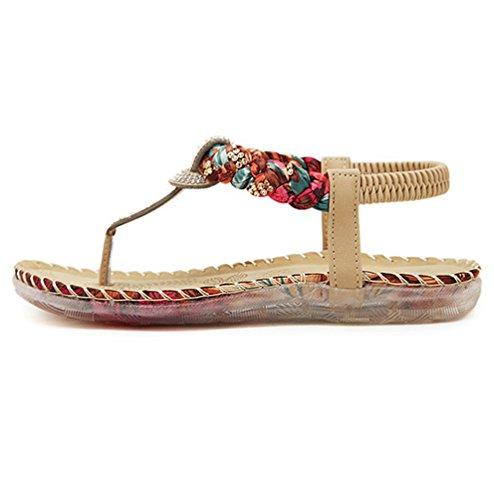 YoungSoul Sandales Plates Strass à entredoigt Chaussure de Plage D'été Tongs à bride arrière Confort Sandales Bout Ouvert Femme Abricot
