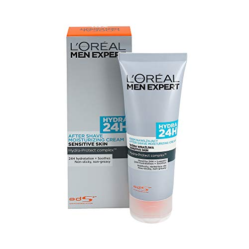 L'Oreal Paris Men Expert Hydra 24H After Shave Moisturizing Cream Sensitive Skin, 1er Pack (1 x 75 ml)