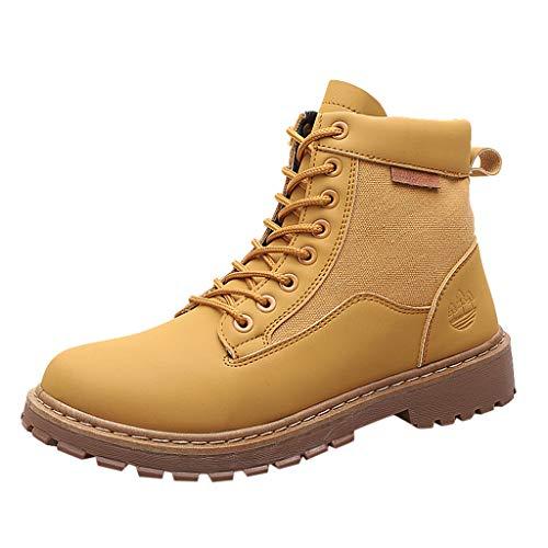 DAIFINEY Herren Winter Kurze Stiefeletten Winter Worker Boots Stiefel Freizeit Outdoor-Stiefel Tragen Sie rutschfeste Werkzeuge Atmungsaktive Stiefel(Gelb/Yellow,39) Womens Plaza Mid Boot