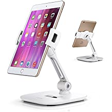 """AboveTEK Elegante soporte de aluminio para tableta, soporte para teléfono celular, plegable giratorio de 360 ° Soporte de escritorio para escritorio de iPhone iPad cabe 4-11"""" Tabletas / Smartphones para la cocina Mesita de la oficina Pos Kiosco Recepción Showroom"""