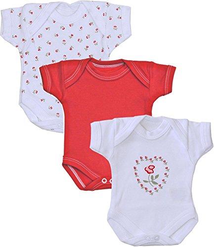 Babyprem Frühchen Baby Mädchen Kleidung Packung Mit 3 Bodys Strampelanzüge ROT Rose P1