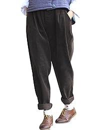 b4218c6697 Youlee Mujer Cintura Elástica Pana Pantalones con Bolsillos