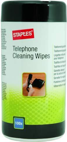 STAPLES® Reinigungstuch, Spenderdose, für Telefone/Headsets (100 Stück), Sie erhalten 1 Packung á 100 Stück (Staples Reinigungstücher)