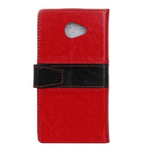 Meet de (Rosso Nero) Per LG K5 Case, LG K5 Cover, LG K5 Sottile Flip, Cover Pelle Stand / Cover Shell / Protettiva Caso / Cover / Protezione / Copertura Per LG K5,LG K5 PU Pelle Case, LG K5 Custodia / Flip Cover Pelle Stand, Custodia in pelle con supporto supporto Per LG K5