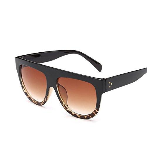 Tocoss (TM Flat Top Spiegel Sun Glasses Cat Eye Sonnenbrille Frauen Französische Marke Design Oculos de Sol Vintage Sun Glasses weiblich Stift Shades, Schwarz Leopard