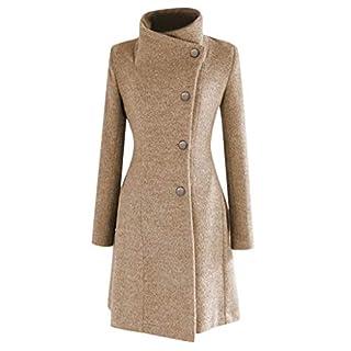 Damen Wool Coat Mantel Damen Winter Mantel Klassischen Einreiher Trenchcoat Warm Schlank Vintage Jacke Windmantel Outwear mit Gürtel Luckycat