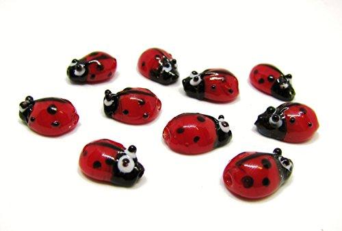10 Glasperlen Marienkäfer Rot, ca. 1,3cm, Handarbeit, Perlen basteln, verzieren
