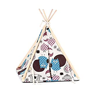 Auoker Dog/Cat Teepee, Pet Teepee House Dog Mat Washable Portable All Seasons Useable Dog Teepee Cushion Bed for Cats Puppy Little Dogs