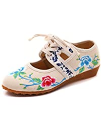 Frühling, Sommer und elegante kleine Pisten mit der Chinesischen Fan Mädchen bestickte Schuhe, schwarz, 37