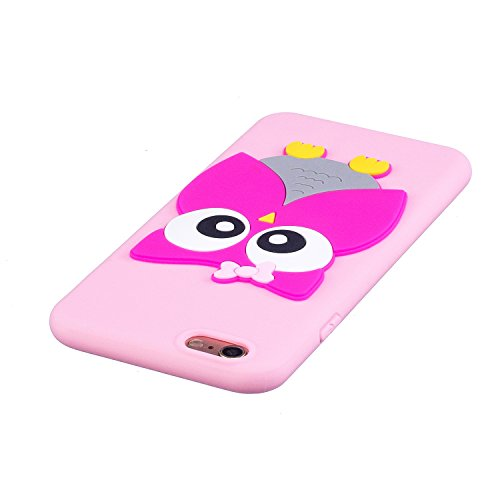 EUWLY Silicone Custodia per iPhone 6 Plus/iPhone 6s Plus (5.5), 3D Creativo Cute Cartoon Animale Solid Modello TPU Cover Case per iPhone 6 Plus/iPhone 6s Plus (5.5) Ultra Sottile Morbido Silicone TP Gufo
