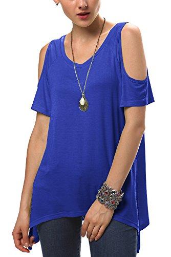 Urbancoco Damen Vogue Schulterfrei unregelmäßige sidetale Tunika Top Shirt Königsblau