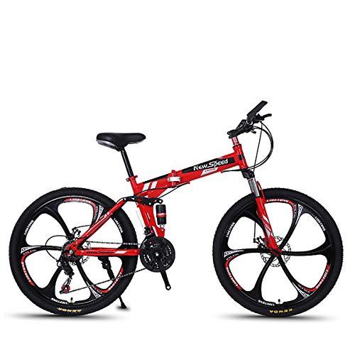 W&TT Faltbares Mountainbike 21/24/27 Geschwindigkeiten Scheibenbremse Geländefahrrad 26 Zoll Erwachsene Magnesium-Leichtmetallrad-Fahrräder mit doppeltem Stoßdämpfer,Red3,27S