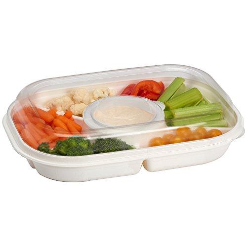 Buddeez Party-Teller, geteilt, tragbar, Serviertablett mit Deckel, 6 Extragroße Fächer für Dip, Vorspeisen, Snacks, Gemüse, Chips und Urlaubsfutter