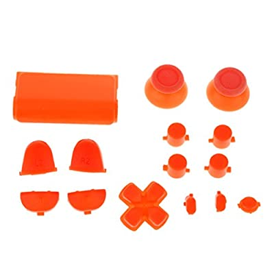 MagiDeal L2 R2 L1 R1 Thumbstick Joystick D-pad Anolog Cap Button Mod Game Set Bullet Kit for Sony PS4 Controller Orange from MagiDeal