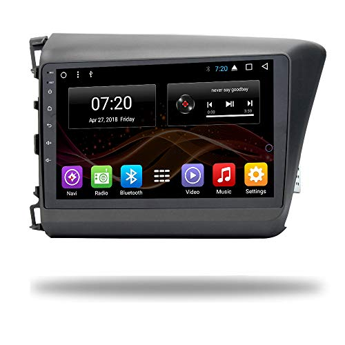 2.5D IPS Android 8.1 Octa Core Car DVD Radio GPS Navigation for Honda Civic 2011-2015 Stereo Audio Navi Video with Bluetooth Calling WiFi Touch Screen (Android 8.1 4/64G for Honda Civic 11-15)