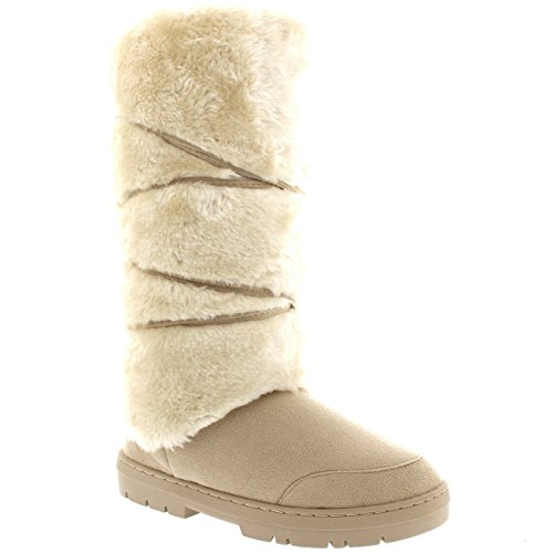 Damen Tall Knee High Fixed Lace Wrap Pelz Gefüttert Winter Schnee Regen Stiefel Beige