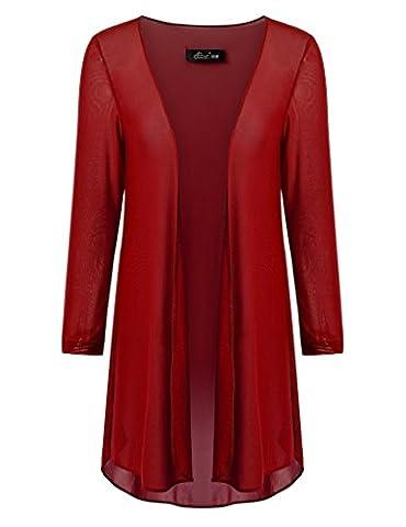 Ferand Open Front Soft Drape Lightweight Cardigan 3/4 Sleeve for Women, Burgundy, 2XL