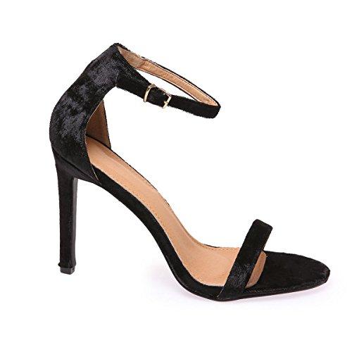 La Modeuse Sandales à Talons Aiguilles Femme Noir