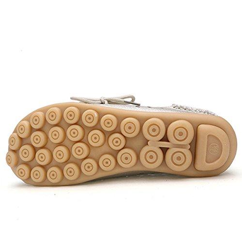Tezoo Damen Slipper, Mokassins Bootsschuhe Low-Top Leder-Flach-Schuhe Hausschuhe Schnitzerei Espadrilles Ultra Bequem (Hersteller-Größentabelle IM Bild Beachten) Lehmgelb
