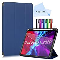 "A-BEAUTY Case for iPad Pro 11"" 2020/2018 Release with [Screen Protector] [Pencil Holder] [Lightweight] Soft TPU Back Stand Cover with [Auto Sleep/Wake] - Navy"