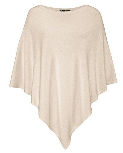 Cashmere Dreams Poncho-Schal aus Baumwolle - Hochwertiges Cape für Damen - XXL Umhängetuch und Tunika - Strick-Pullover - Sweatshirt - Stola für Sommer und Winter Zwillingsherz - beige