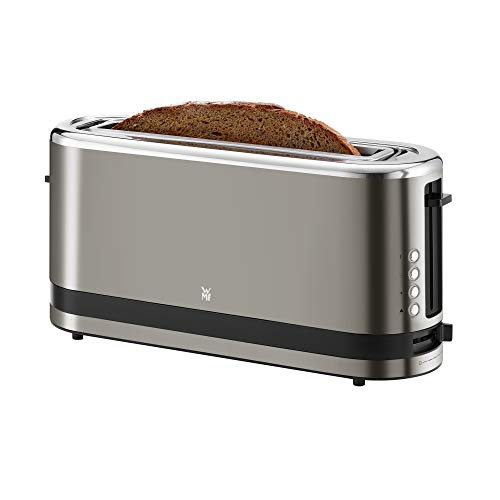 WMF Küchenminis Langschlitz-Toaster (900 W, integrierter Brötchenwärmer, 2 XXL Brotscheiben, Auftau-Funktion, cromargan matt) graphit