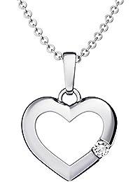 860b43688cfc Herzkette Silber 925  Ich liebe Dich  Etui Kette mit Anhänger Damen-Kette  Zirkonia Stein Echt-Silber Herz-Anhänger…