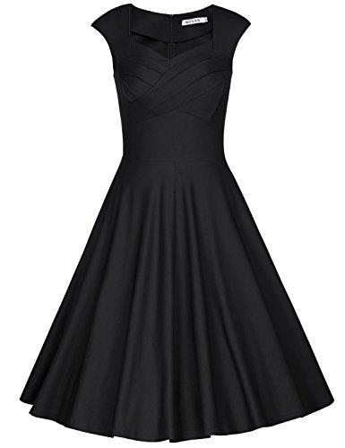 MUXXN Damen Retro 1950er Kleider Swing Kleid Vintage Rockabilly Kleid Partykleid Cocktailkleid(XL,...