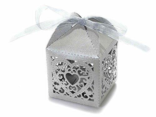 Scatola portaconfetti bomboniera in carta con intagli a cuore. disponbile in colore bianco o glitter argento (glitter argento)