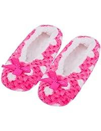La Sra. Fralosha interiores uso zapatillas de suela antideslizante, el calor W / ABS (Azul)