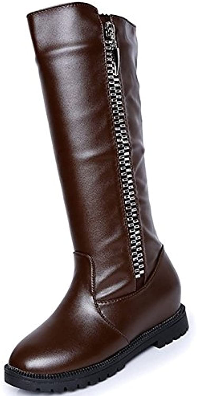 c417714026e8cf zhznvx hsxz des chaussures bottes bottes bottes nulle faible confort hiver  automne talon round toe mi mollet bottes / occasionnel Marron ...b07928rp44  ...