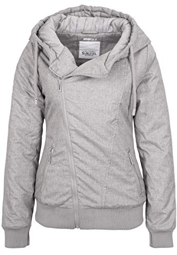 Sublevel Damen Winter-Jacke mit Kapuze warm gefüttert Light-Grey S