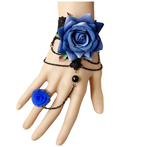 Cebilevin Blue Rose Openwork Lace Armband mit Ring Halloween Ball (Gaze Piraten Kostüm)