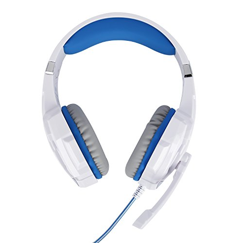 Tsing-Auriculares-Cascos-Gaming-de-Diadema-Abiertos-con-Micrfono-para-Porttiles-PS4-Mviles-Tablet-Blanco